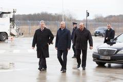 Ukrainean Präsident Petro Poroshenko an der Einweihung neuer ukrainischer Grenze Palanca Moldovans lizenzfreie stockfotografie