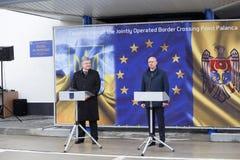 Ukrainean Präsident Petro Poroshenko an der Einweihung neuer ukrainischer Grenze Palanca Moldovans lizenzfreie stockfotos