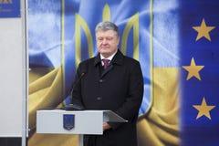Ukrainean Präsident Petro Poroshenko an der Einweihung neuer ukrainischer Grenze Palanca Moldovans stockbild