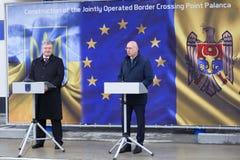 Ukrainean Präsident Petro Poroshenko an der Einweihung neuer ukrainischer Grenze Palanca Moldovans stockbilder