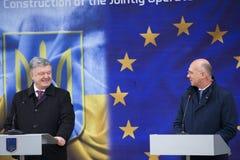Ukrainean Präsident Petro Poroshenko an der Einweihung neuer ukrainischer Grenze Palanca Moldovans lizenzfreie stockbilder