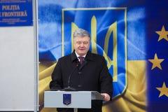 Ukrainean Präsident Petro Poroshenko an der Einweihung neuer ukrainischer Grenze Palanca Moldovans lizenzfreies stockbild