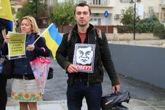 Ukrainer in der Zypern-Showsolidarität Stockfotos