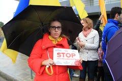Ukrainer in der Zypern-Showsolidarität Lizenzfreie Stockfotografie