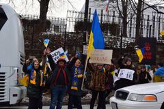 Ukraines-Protest an russischem Botschaft DC Stockbilder