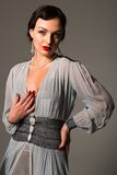 Ukrainian. Beautiful young Ukrainian woman vintage gray gown Royalty Free Stock Photos
