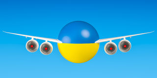 Ukrainian airlines and flying`s concept. 3D rendering Stock Photos