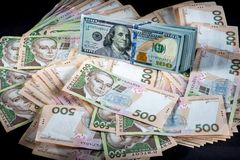 Ukrainian and American money Stock Photography