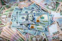 Ukrainian and American money Stock Photo