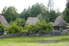 Ukrainian ancient farmstead in Pirogovo. Ukrainian old farmstead in the museum of folk architecture in Pirogovo Stock Photos