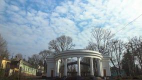 Ukrainian arch in the morning city. Ukrainian Gagarin arch in the morning city stock video