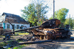 Ukrainian armored vehicles destroyed Stock Images
