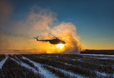 Ukrainian army helicopter patrols the area of of the antiterrori. DONETSK REGION, UKRAINE - Dec 05, 2016: Ukrainian army helicopter during a combat mission in Stock Photography
