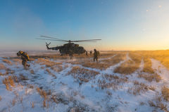 Ukrainian army helicopter patrols the area of of the antiterrori. DONETSK REGION, UKRAINE - Dec 05, 2016: Ukrainian army helicopter Mi-8 NATO reporting name Royalty Free Stock Image