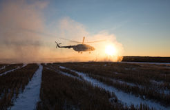 Ukrainian army helicopter patrols the area of of the antiterrori. DONETSK REGION, UKRAINE - Dec 05, 2016: Ukrainian army helicopter Mi-8 NATO reporting name Stock Images