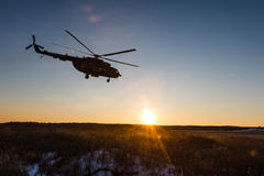 Ukrainian army helicopter patrols the area of of the antiterrori. DONETSK REGION, UKRAINE - Dec 05, 2016: Ukrainian army helicopter Mi-8 NATO reporting name Stock Photos