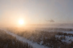 Ukrainian army helicopter patrols the area of of the antiterrori. DONETSK REGION, UKRAINE - Dec 05, 2016: Ukrainian army helicopter Mi-8 NATO reporting name Royalty Free Stock Photos