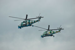 Ukrainian Army Mi-24 helicopters Stock Images