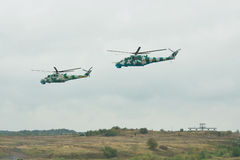 Ukrainian Army Mi-24 helicopters Royalty Free Stock Photography