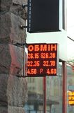 Ukrainian bank currency exchange led display board for dollar euro and rouble. `obmin` means exchange rate Royalty Free Stock Image