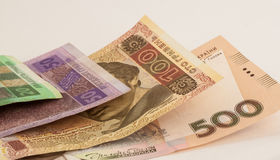 Ukrainian banknotes. Few ukrainian banknotes called hryvnias on the table Stock Image