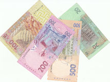 Ukrainian banknotes. Ukrainian modern money on background Royalty Free Stock Photography