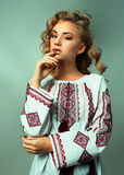 Ukrainian beautiful girl in costume Royalty Free Stock Image
