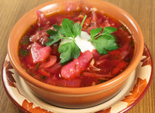 Ukrainian beetroot soup Royalty Free Stock Photo