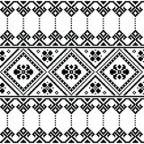 Ukrainian or Belarusian folk art black floral embroidery pattern or print Royalty Free Stock Photos