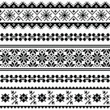 Ukrainian, Belarusian folk art embroidery pattern or print in black Royalty Free Stock Image