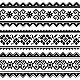 Ukrainian or Belarusian folk art embroidery pattern or print in black and white Stock Photography