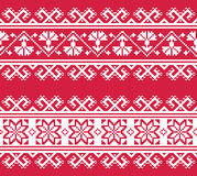 Ukrainian or Belarusian folk art embroidery pattern in red an white Royalty Free Stock Photography