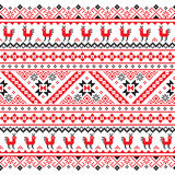 Ukrainian, Belarusian red and black embroidery seamless pattern - Vyshyvanka Stock Photos