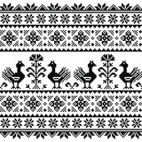 Ukrainian or Belarusian, Slavic folk art knitted black embroidery pattern with birds Royalty Free Stock Image