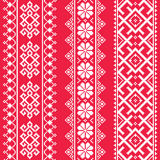Ukrainian, Belarusian white embroidery seamless pattern on red - Vyshyvanka Stock Photos