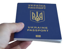 Ukrainian biometric passport. Id to travel the Europe without visas.Modern passport with electronic chip let Iranians travel to European Union without visa Royalty Free Stock Images