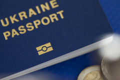 Ukrainian biometric passport. Id to travel the Europe without visas.Modern passport with electronic chip let Iranians travel to European Union without visa Royalty Free Stock Photos
