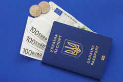 Ukrainian biometric passport. Id to travel the Europe without visas.Modern passport with electronic chip let Iranians travel to European Union without visa Stock Photo