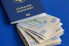Ukrainian biometric passport. Id to travel the Europe without visas.Modern passport with electronic chip let Iranians travel to European Union without visa Royalty Free Stock Photo