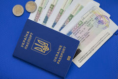 Ukrainian biometric passport. Id to travel the Europe without visas.Modern passport with electronic chip let Iranians travel to European Union without visa Royalty Free Stock Image