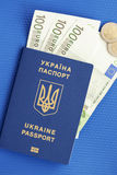 Ukrainian biometric passport. Id to travel the Europe without visas.Modern passport with electronic chip let Iranians travel to European Union without visa Stock Images