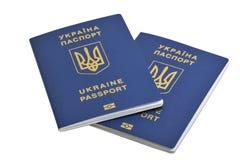 Ukrainian biometric passports  on white background Royalty Free Stock Photo