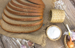 Ukrainian black bread with spices, onions, garlic and salt. Royalty Free Stock Photography