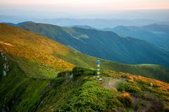 Ukrainian border in the Carpathian Mountains, the border with Ro Stock Images