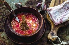 Ukrainian borsch, the bacon and garlic Stock Photo