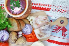 Ukrainian borsch with bacon and vegetables Stock Image
