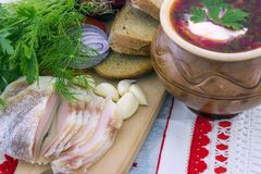 Ukrainian borsch with bacon and vegetables Royalty Free Stock Photo