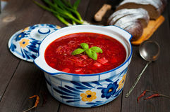 Ukrainian borsch with beets Stock Photography