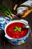 Ukrainian borsch with beets Stock Images
