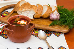 Ukrainian borsch and bread Royalty Free Stock Photos